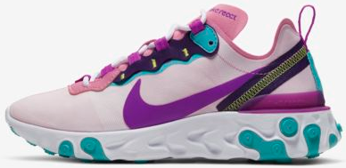 Nike React Element 55 Magic Flamingo / Eggplant / Oracle Aqua / Bright Purple