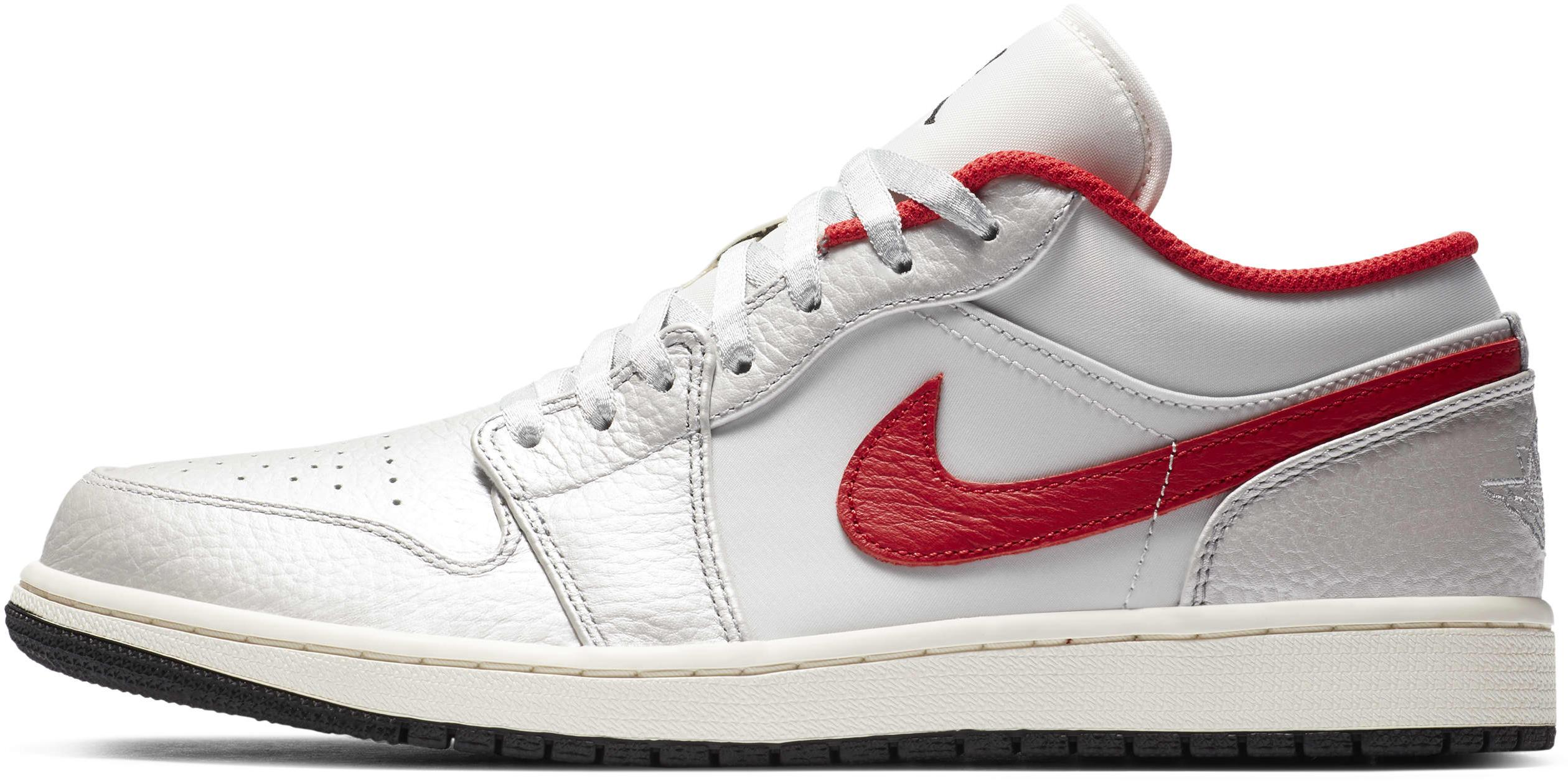 Air Jordan 1 Low Premium Metallic Silver/Sail/Black/University Red